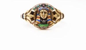 Egyptian Revival Jeweled Enamel Pharoah Bangle, circa 1860.