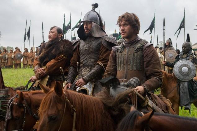 Benedict Wong, Uli Latukefu and Lorenzo Richelmy in Marco Polo. (Phil Bray for Netflix)