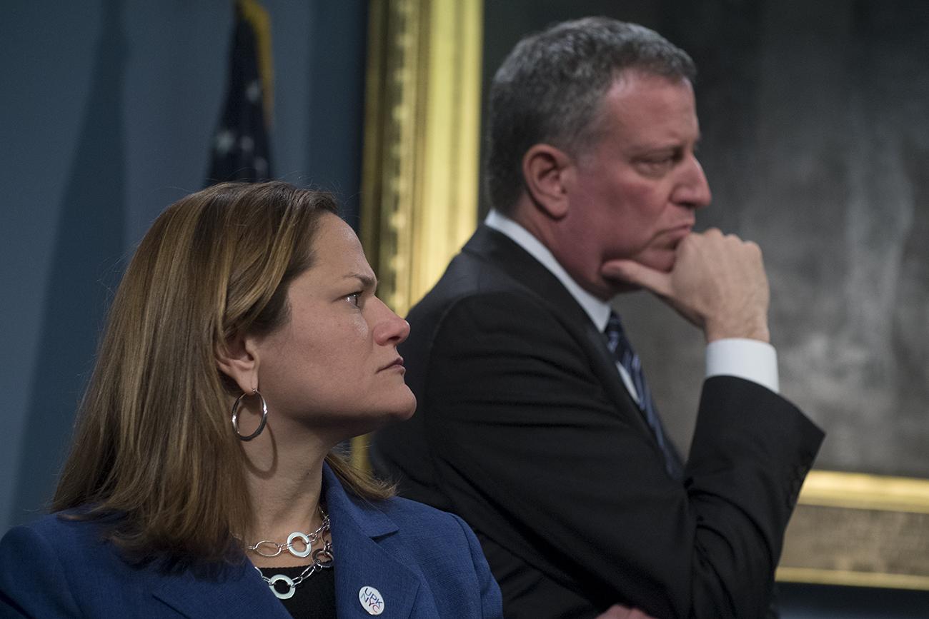 Council Speaker Melissa Mark-Viverito and Mayor Bill de Blasio. (Photo: William Alatriste/NYC Council)
