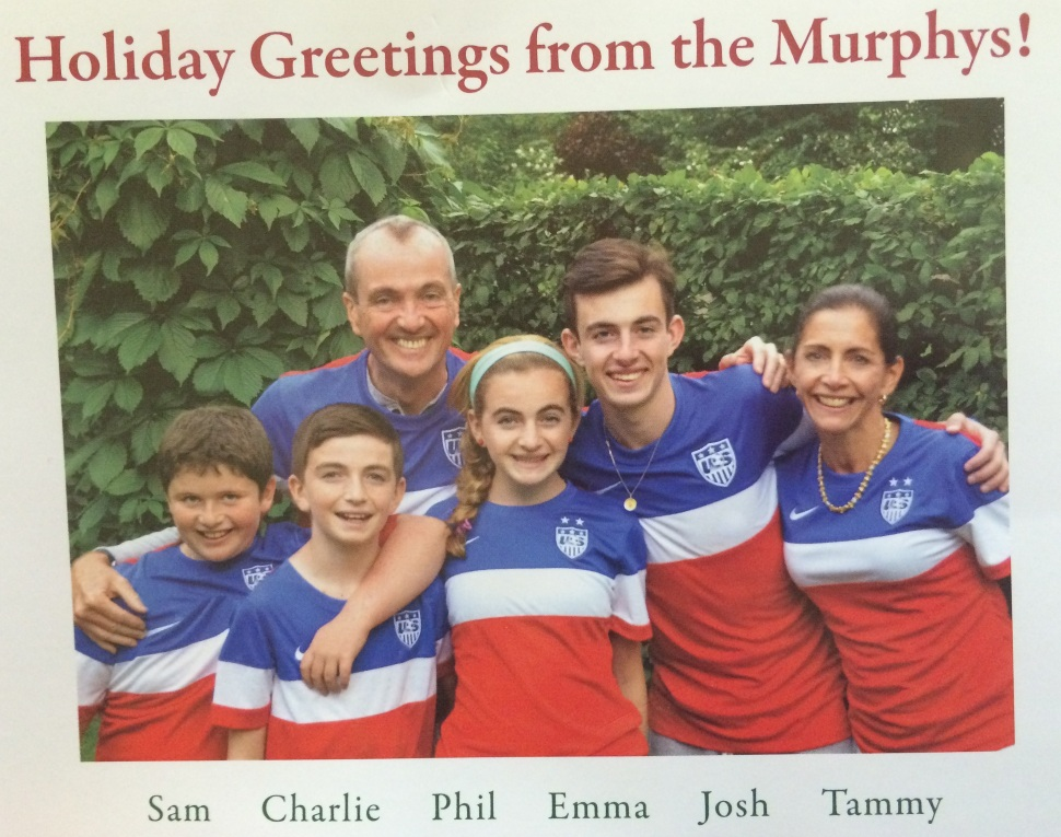 Potential 2017 gubernatorial candidate Philip Murphy and his family pose for their yearly holiday card.