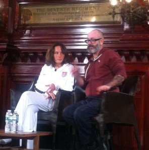 Pianist Hélène Grimaud and artist Douglas Gordon in the Board of Officers Room at The Park Avenue Armory today. (Photo by Christopher Murray.)
