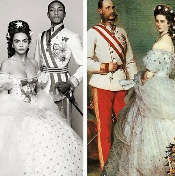 Cara and Pharrell alongside Emperor Franz Joseph I and Empress Elisabeth. (Photo via instagram.com/caradelevingne)
