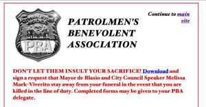 A screengrab from the Patrolmen's Benevolent Association website.