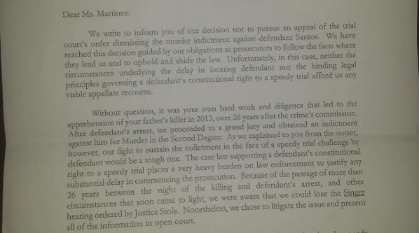 An excerpt from the letter Ms. Martinez received. (Joselyn Martinez)