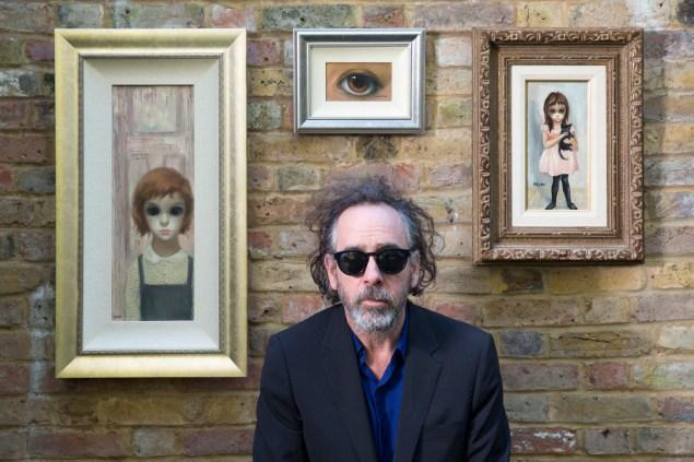 Tim Burton with his vintage Margaret Keane paintings, October 28, 2014.