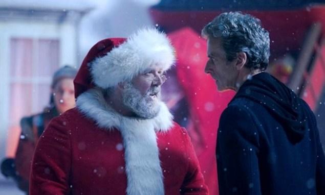 Peter Capaldi as the Doctor, meeting Santa. (BBC)