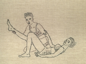 WrestlingGirls, an embroidery piece based on midcentury pulp photography.
