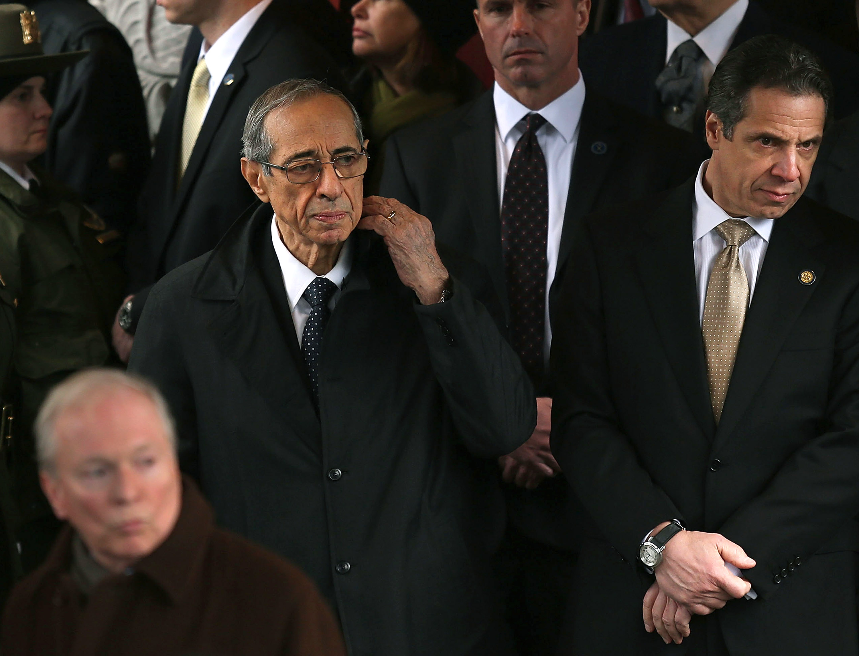 Former Gov. Mario Cuomo, left, with his son Gov. Andrew Cuomo at former Mayor Ed Koch's funeral in 2013 (Photo: Spencer Platt/Getty Images).