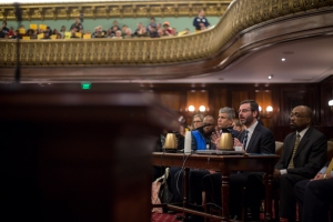 David Hantman of Airbnb testifying before the City Council today. (William Alatriste/New York City Council)
