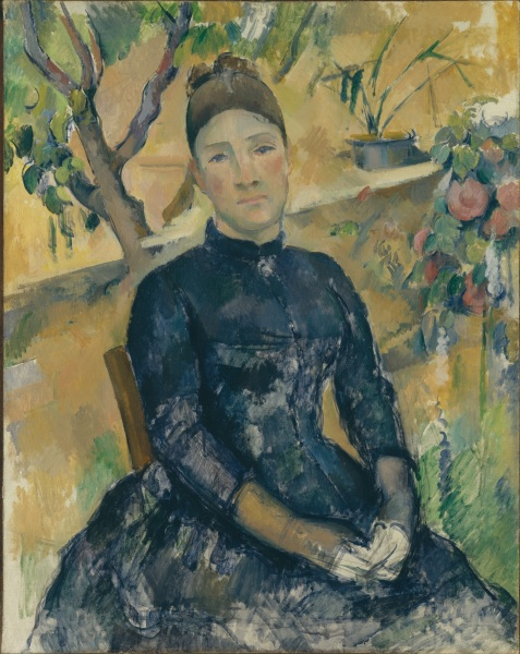 Paul Cézanne, Madame Cézanne (Hortense Fiquet, 1850–1922) in the Conservatory, (1891). (Courtesy the Metropolitan Museum of Art)