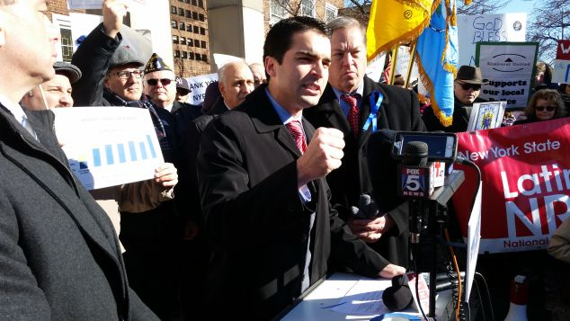 Councilman Eric Ulrich speaks at the pro-NYPD rally today.