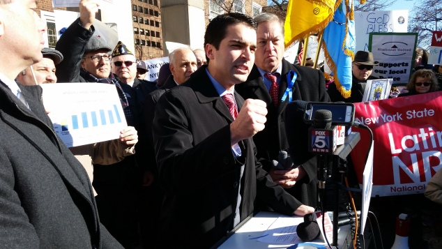 Councilman Eric Ulrich speaks at the pro-NYPD rally today. (Photo: Ross Barkan)