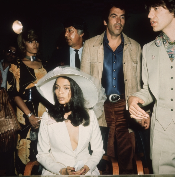 Bianca Jagger and Mick Jagger on their wedding day in 1971. Roger Vadim, the film director and former husband of Jane Fonda, stands between them. (Photo via Getty)