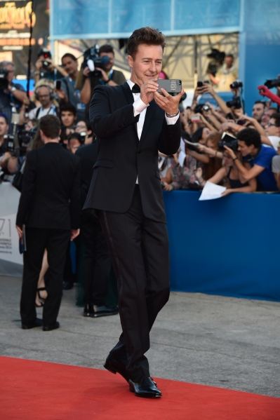 Edward Norton, possibly taking a selfie. (Photo via Getty)