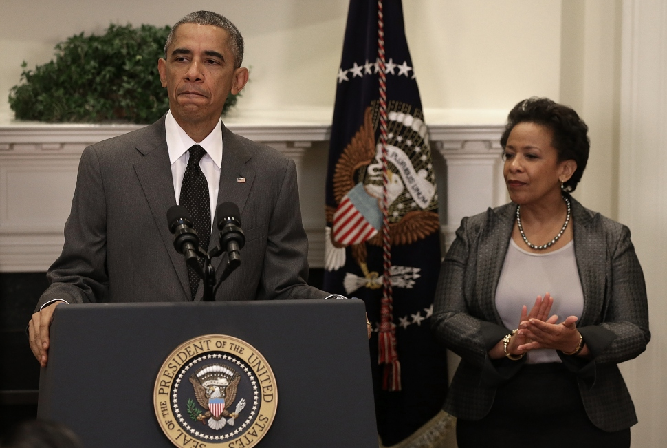 President Barack Obama introduces Loretta Lynch as his nominee for Attorney General. She would be the first African American woman to hold the position  if confirmed.  (Photo by Win McNamee/Getty Images)