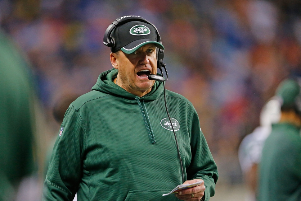 A mini-drama erupted between sportswriters at New York's tabloids over who would replace Jets head coach Rex Ryan. (Photo by Leon Halip/Getty Images)