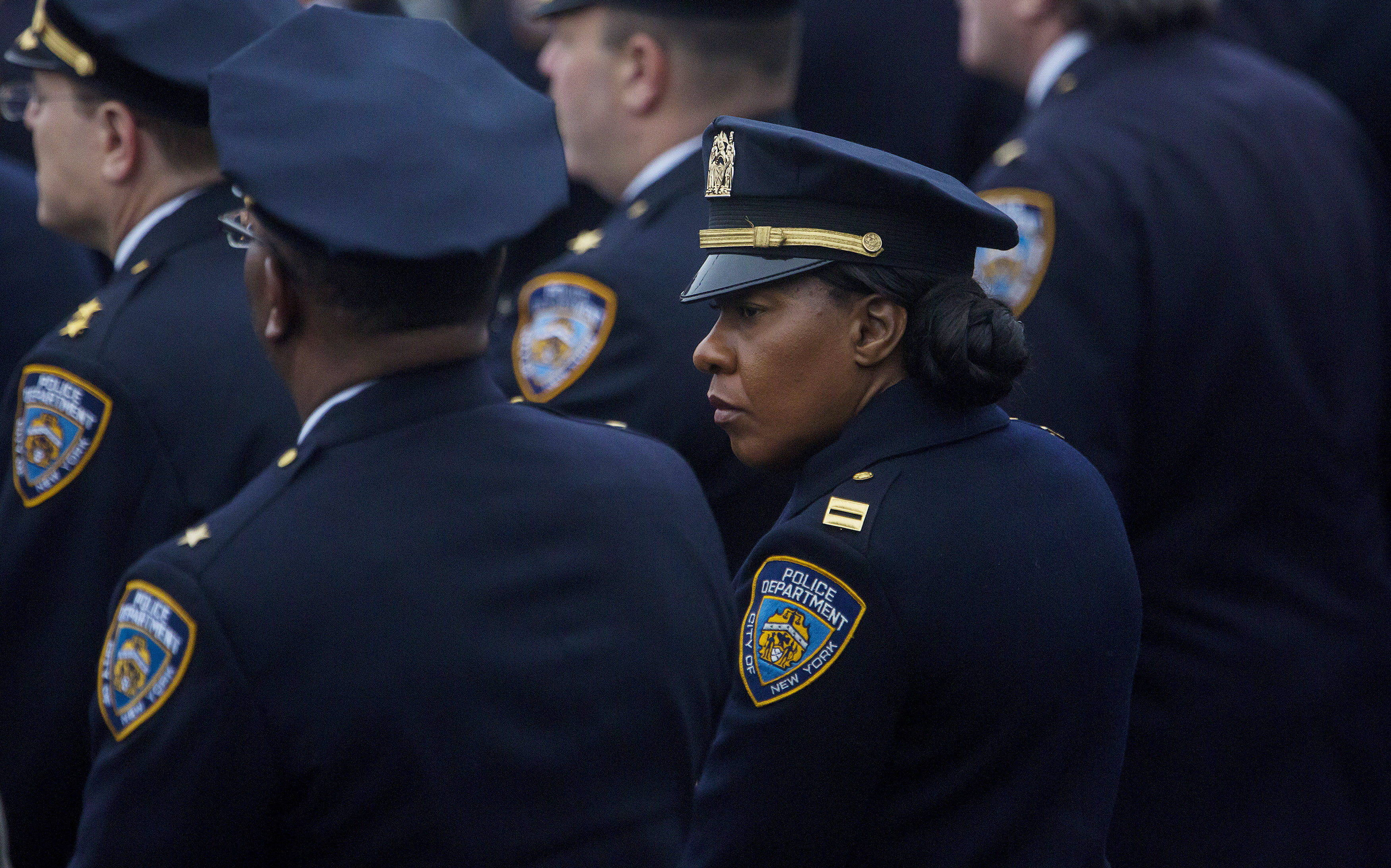 Police officers at Detective Wenjian Liu's funeral today (Photo: Eric Thayer/Getty Images).
