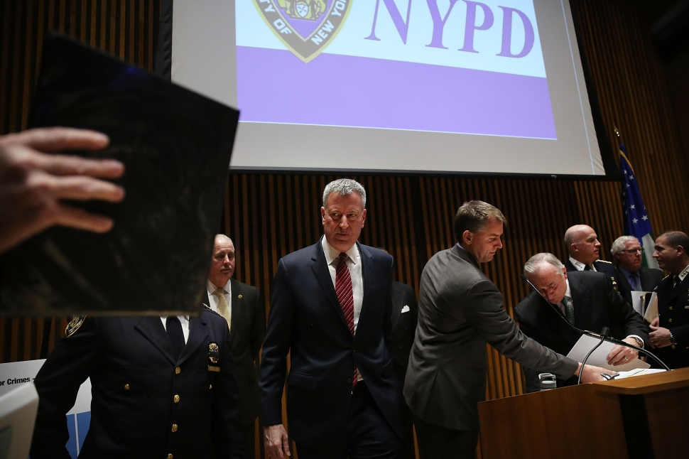 Mayor Bill De Blasio And NYPD Chief Bratton Hold News Conference To Make Announcement