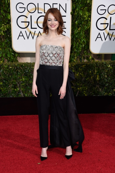 Ms. Stone in Lanvin at the Golden Globes. (Photo via Getty)