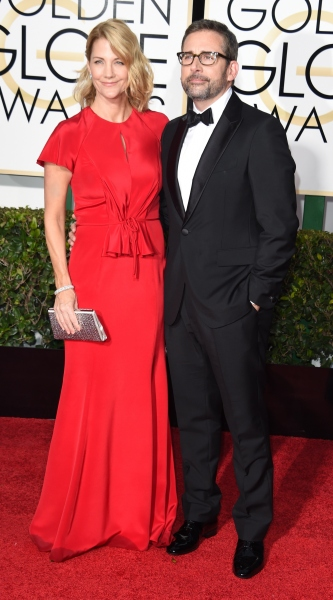 Steve Carell, pictured with wife Nancy Carell, will likely go the buttoned-up route. (Photo via Getty)