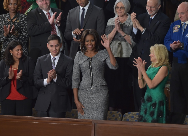 First Lady Michelle Obama arrives at the U.S. Capitol for the State of the Union Address. (Photo via Getty)