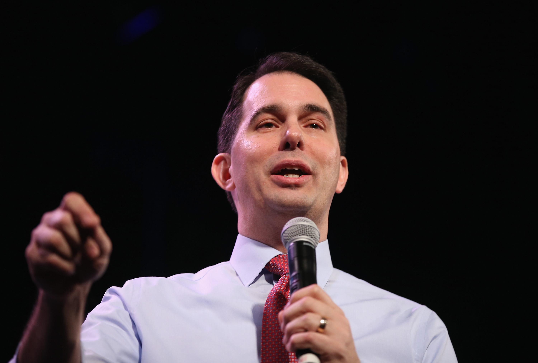 Scott Walker speaking in Iowa in January. (Photo by Scott Olson/Getty Images)