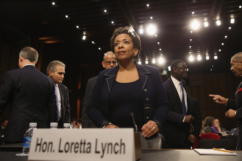 WASHINGTON, DC - JANUARY 28: U.S. Attorney for the Eastern District of New York Loretta Lynch testifies during her confirmation hearing before the Senate Judiciary Committee on Capitol Hill (Photo by Mark Wilson/Getty Images).