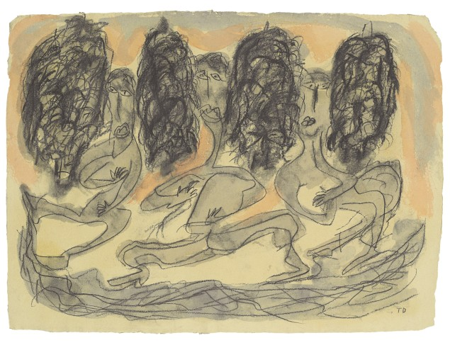 """Alabama artist Thornton Dial's """"Dancing in the Street"""" (1996) is estimated to sell for $3,000 to $5,000 at auction later this week."""