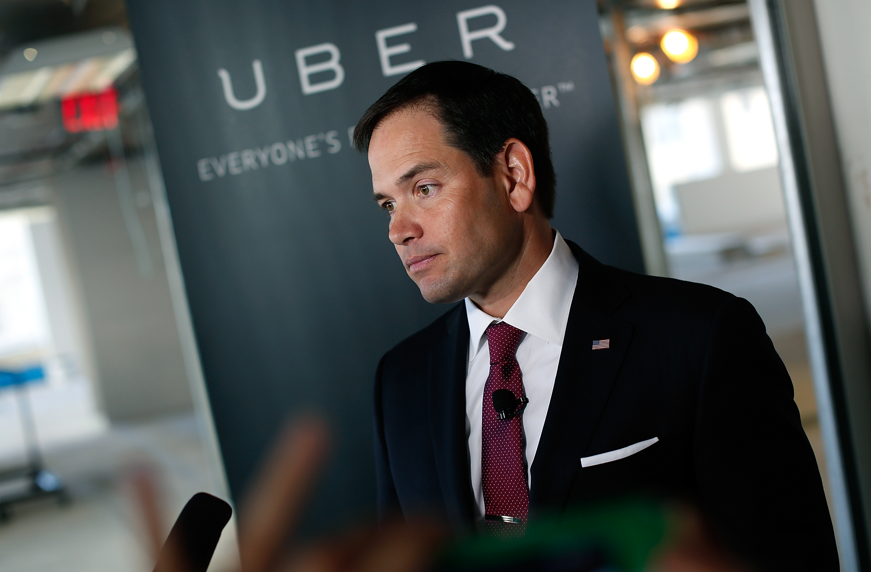 Why did Marco Rubio, a Florida senator with possible presidential ambitions, visit the Uber's Washington HQ last month? I don't know, probably 'cause of puppies, I guess. (Photo: Getty Images)