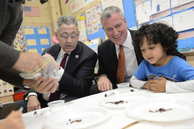 Mayor Bill de Blasio with Assembly Speaker Sheldon Silver. (Photo:  Susan Watts-Pool/Getty Images)
