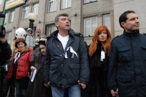 President Putin pokes fun at the 'White Ribbon' campaign of his opponents, such as Boris Nemtsov, pictured here.