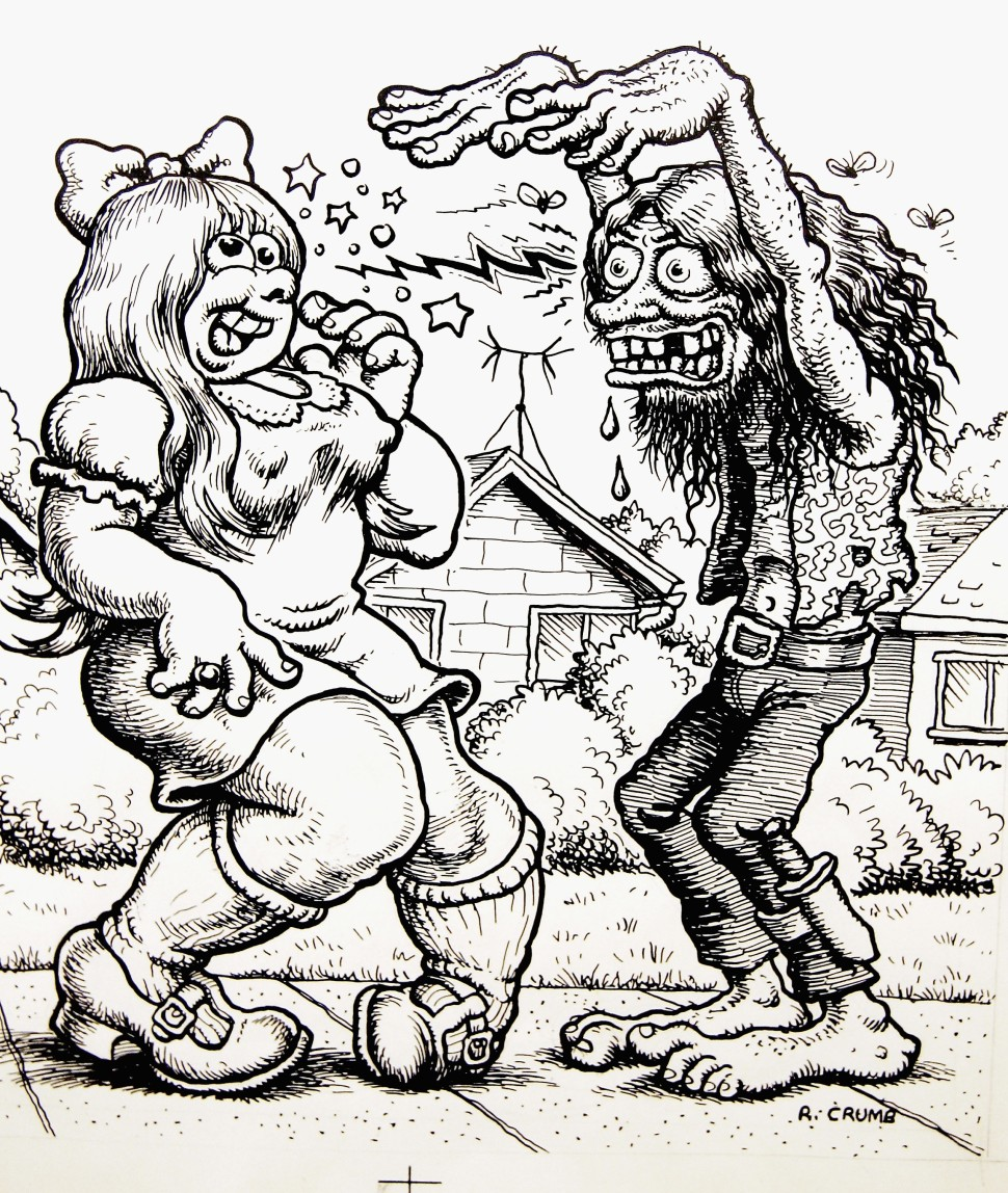 "A cartoon drawn by Robert Crumb is seen at the private view for ""Robert Crumb: A Chronicle Of Modern Times"" at the Whitechapel Art Gallery on March 30, 2005 in London. The first major UK retrospective of the US cult-cartoonist - who is renowned for producing controversial and politically incorrect work - surveys his career spanning 40 years. (Photo by Chris Jackson/Getty Images)"