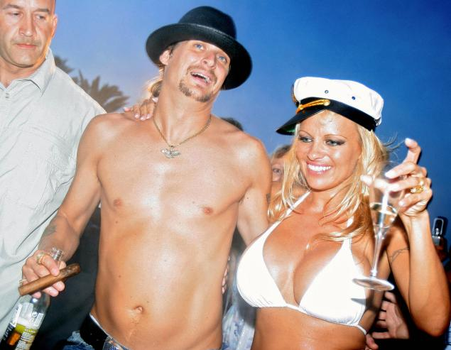 Pamela Anderson and Kid Rock in what must be the most rock-and-roll wedding, if not the most tasteful, of all time, in Saint Tropez. (Photo via Getty)