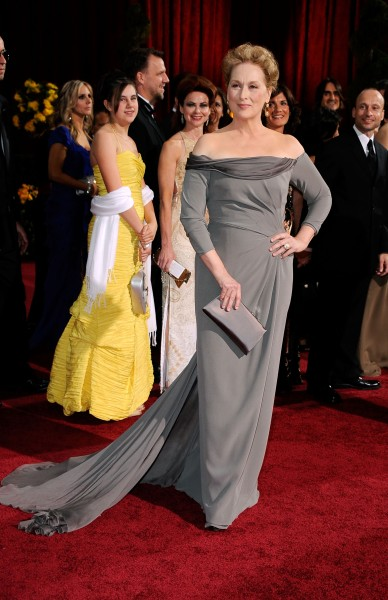 Meryl Streep favors gowns that are as formidable as her acting talent. Here she is in Alberta Ferretti in 2009. (Photo via Getty)