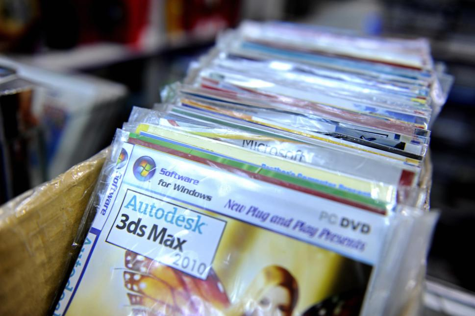 Counterfeit computer programmes are pictured in a shop in Dhaka on May 13, 2009 a day after a report into software piracy found Bangladesh to have the highest rate of fake products in the Asia-Pacific region. The annual survey by the Business Software Alliance (BSA) and industry research firm IDC showed 92 percent of the South Asian nation?s software was unlicensed. AFP PHOTO/Munir uz ZAMAN (Photo: Munir Uz Zaman/AFP/Getty Images)