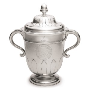 This silver two-handled cup and cover (ca. 1720) is the top lot in Sotheby's silver sale, estimated to fetch  $300,000 to $500,000. (Photo courtesy Sotheby's)