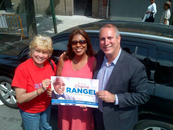Adam Clayton Powell IV (right) with Public Advocate Letitia James at a campaign rally for Congressman Charles Rangel. (Photo: Facebook)