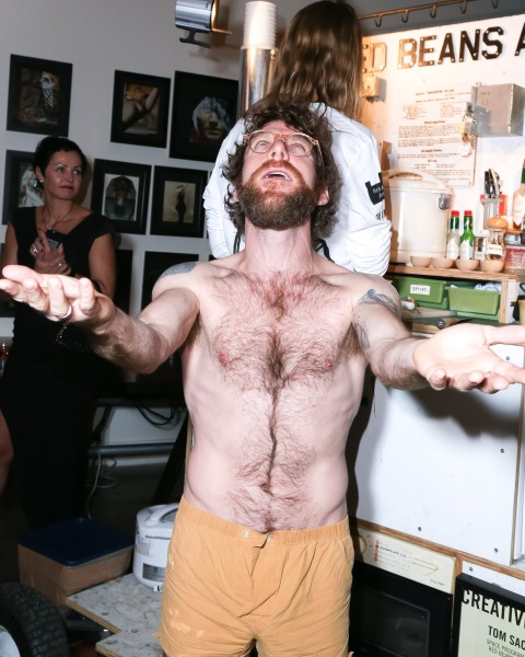 Dustin Yellin, in various stages of undress. (Courtesy Billy Farrell)