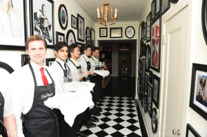 The line of servers leading to the penthouse of the Chateau Marmont. (Photo courtesy Billy Farrell)