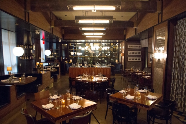 The restaurant's sleek interior, located in the