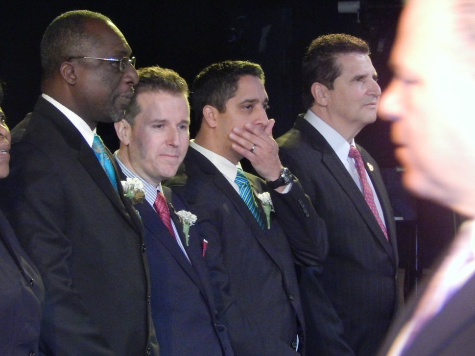 From left to right: Freeholder Rufus Johnson, Gill, Freeholder Rolando Bobadilla, and Essex County Executive Joe DiVincenzo.