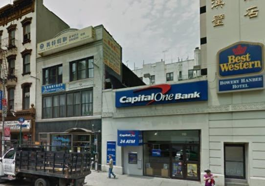 The Capital One bank on The Bowery that the artist Joseph Gibbon robbed as a performance. (Courtesy The Lo Down NY)