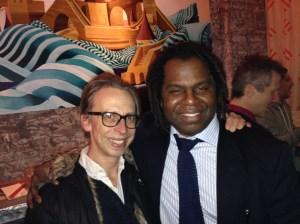 New York magazine writer Carl Swanson celebrates with the author. (New York Observer)
