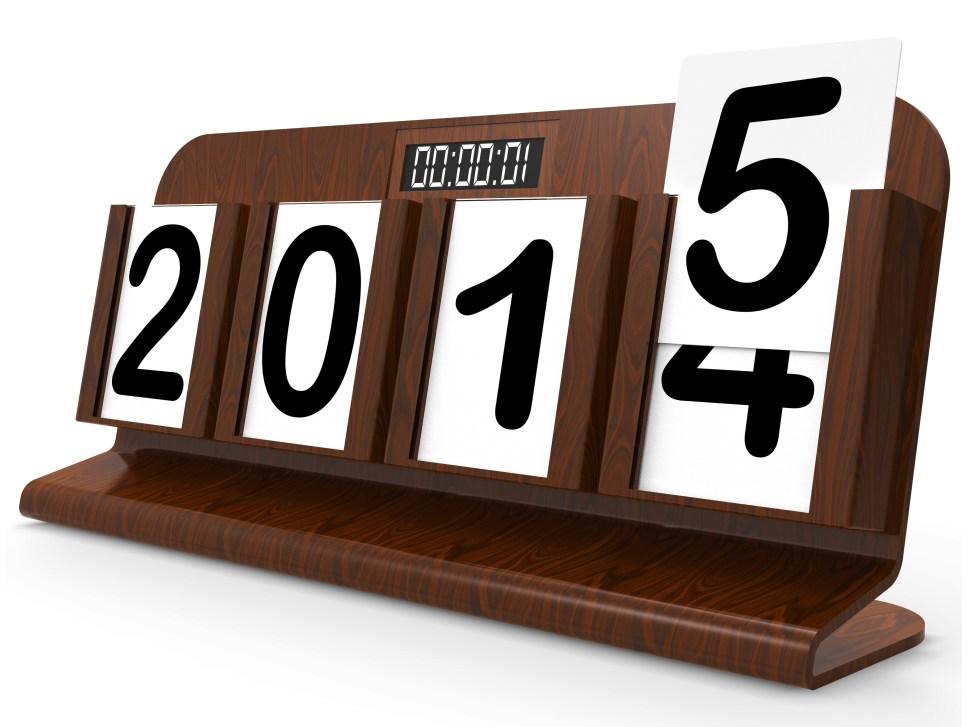 Desk Calendar Represents Year Two Thousand Fifteen