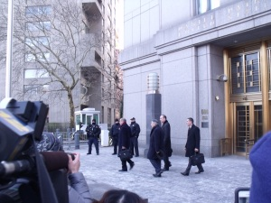 Sheldon Silver and his employees walking out of the courthouse. (Photo: Jillian Jorgensen)