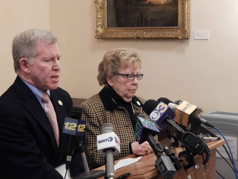 Weinberg at a press conference in the statehouse Thursday where she and state Sen. Robert Gordon announced plans to override the governor's Port Authority reform veto.