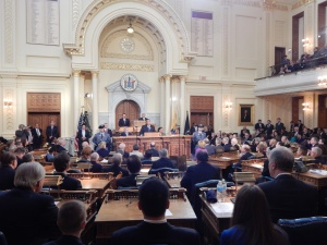 Christie commands the Assembly floor during his 2015 State of the State Address.