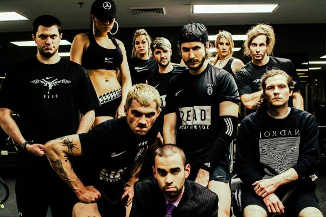 """Mr. Love and a group of fellow """"health goths"""" gather together for a group photo. (Photo by Joseph Brunk)"""