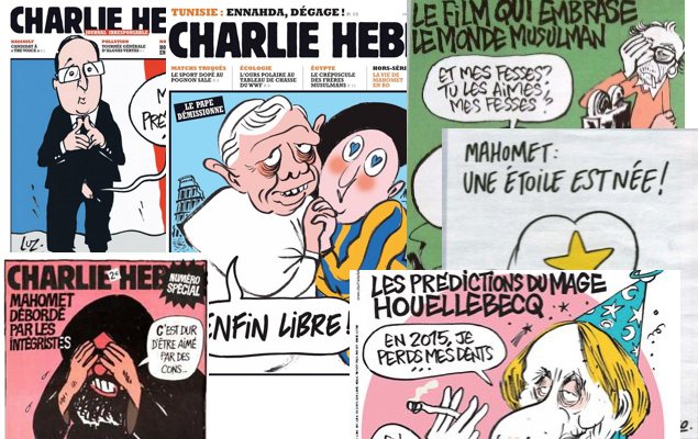 A collage of controversial covers of the French satirical magazine Charlie Hedbo.