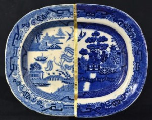 Paul Scott's Cumbria Blue(s), Willow. Staffordshire transferware collage, gold leaf, tile cement and epoxy resin,
